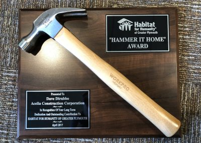 Habitat for Humanity Award for Hammer It Home – 2017